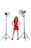 Woman in red dress posing in  studio Royalty Free Stock Photos