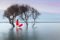 Woman in Red Dress with Red Umbrella in Water Royalty Free Stock Photos