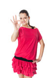 Woman in red dress showing OK sign Stock Image