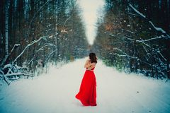 Woman in red dress. Siberia, winter in forest, very cold royalty free stock images