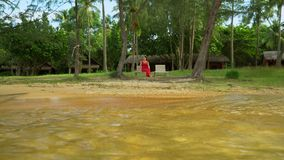 The woman in a red dress sits on the bank of a tropical island. The woman on a plank bed in the middle of palm trees.  stock video footage