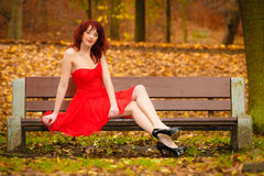 Woman red dress sitting on bench in autumn park Royalty Free Stock Images