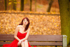 Woman red dress sitting on bench in autumn park Stock Photos