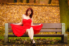 Woman red dress sitting on bench in autumn park Royalty Free Stock Photography