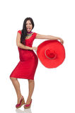The woman in red dress with sombrero Royalty Free Stock Photography