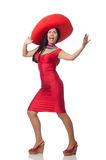 The woman in red dress with sombrero Royalty Free Stock Images