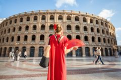 Woman traveling in Valencia city stock image