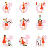 Woman In Red Dress Taking On Traditional Male Roles And Exchanging Places With Man, Set Of Feminism Illustration And Stock Image