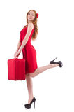 Woman in red dress and travel case isolated Stock Photos