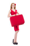 Woman in red dress and travel case isolated Stock Photography