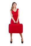 Woman in red dress and travel case isolated Stock Images