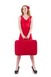 Woman in red dress and travel case isolated Royalty Free Stock Images
