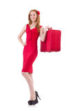 Woman in red dress and travel case isolated Royalty Free Stock Photos