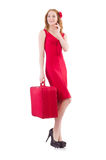 Woman in red dress and travel case isolated Royalty Free Stock Photo
