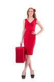 Woman in red dress and travel case Stock Photos
