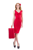 Woman in red dress and travel case Stock Images