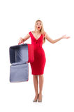 Woman in red dress and travel case isolated on Stock Photography