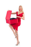 Woman in red dress and travel case isolated on Royalty Free Stock Image