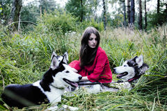 Woman in red dress with tree wolfs, forest, husky dogs mystery p Royalty Free Stock Photography