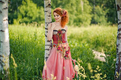 Woman in red dress walking at the summer nature. Woman with red hair in a red dress walking at the summer nature Royalty Free Stock Image