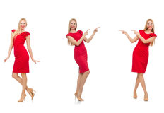 The woman in red dress on white Royalty Free Stock Image