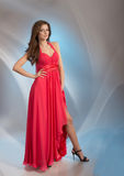 Woman in red evening dress Royalty Free Stock Images