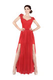 Woman in red evening dress. Woman in red elegant evening dress royalty free stock images