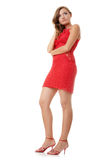 Woman in red evening gown Stock Image