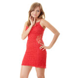 Woman in red evening dress Royalty Free Stock Photos