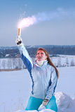Woman with red falschfeuer. Help signal. Young Woman hold red falschfeuer in hand. Help signal Stock Photos