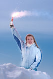 Woman with red falschfeuer. Help signal. Young Woman hold red falschfeuer in hand. Help signal stock images