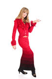Woman in a red fitting dress Royalty Free Stock Image
