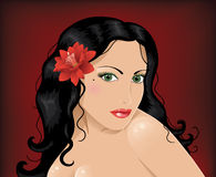Woman with red flower. Caucasian woman with green eyes,dark hair and red flower Stock Photography