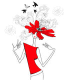 Woman with red flowers. Universal template for greeting card, web page, background Royalty Free Stock Images