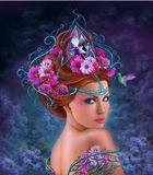 Fantasy Woman and red flowers , fashion portrait Stock Image