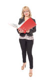 Woman with red folder for documents Stock Photos