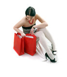 Woman with red gift bags Stock Photos