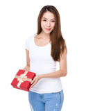 Woman with red gift box royalty free stock photos