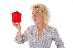 Woman With Red Gift Stock Photos