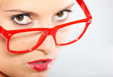 Woman in red glasses Royalty Free Stock Photography