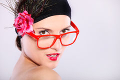 Woman in red glasses Stock Photos