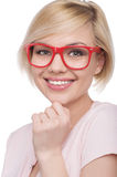 Woman in red glasses. Stock Image