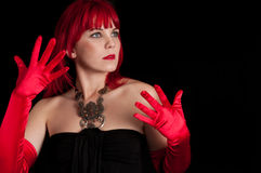 Woman with red gloves Stock Photo