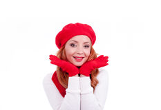 Woman with red gloves and hat Royalty Free Stock Images