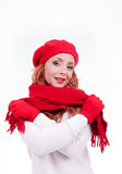 Woman with red gloves and hat Royalty Free Stock Photography