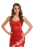 Woman in Red Gown Stock Images
