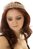 Woman red hair crown close look down Stock Photo