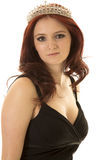 Woman red hair crown close look serious Royalty Free Stock Image