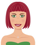 Woman with Red Hair and Green Eyes Stock Photos