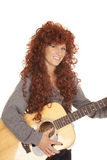 Woman red hair guitar smile Stock Photo